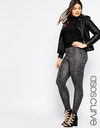 Asos Curve High Waist Legging In Snake Print With Deep Waistband Multi