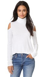 Pam And Gela Cold Shoulder Turtleneck White