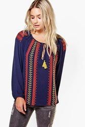 Boohoo Embroidered Smock Top Navy