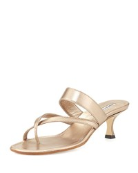 Susa Low Heel Thong Slide Sandal Bronze Manolo Blahnik Gold