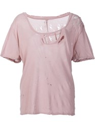 Unravel Project Destroyed Basic Jersey T Shirt Pink Purple
