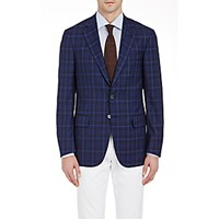 Isaia Men's Plaid Two Button Sportcoat Navy