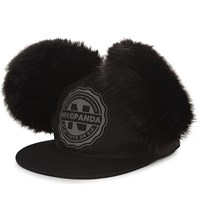 Nicopanda Panda University Fluffy Ear Fitted Cap Black