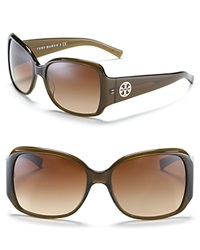 Tory Burch Large Square Sunglasses With Logo Temple Detail Olive