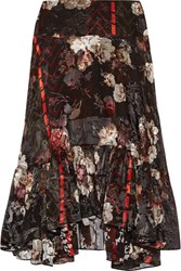 Preen By Thornton Bregazzi Walsh Printed Devore Silk Blend Chiffon Midi Skirt Black