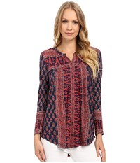 Lucky Brand Wood Block Printed Top Natural Multi Women's Clothing