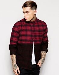 Religion Brushed Dipdye Checked Shirt Red