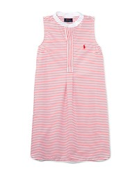 Ralph Lauren Childrenswear Sleeveless Striped Henley Shirtdress Red White Size 5 6X Girl's Size 6