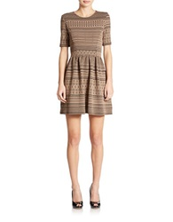 Romeo And Juliet Couture Textured Fit And Flare Dress Taupe Black