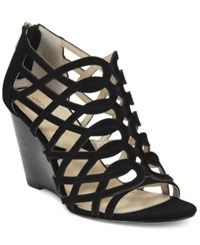 Adrienne Vittadini Arndre Caged Wedge Sandals Women's Shoes Black Kidsuede