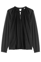 Emilio Pucci Gathered Sheer Top With Embellished Collar Black