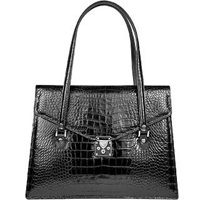L.A.P.A. Black Croco Style Leather Double Gusset Briefcase