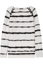 Baja East Striped Cashmere And Wool Blend Sweater
