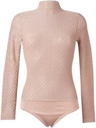 Opening Ceremony Turtleneck Sheer Knit Blouse Nude And Neutrals