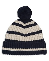 Whistles Dana Breton Stripe Hat With Pom Pom Blue Multi