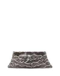 Lauren Merkin Louise Snake Embossed Evening Leather Clutch Bag Black Cream