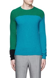 Paul Smith Colourblock Silk Cashmere Boucle Sweater Blue