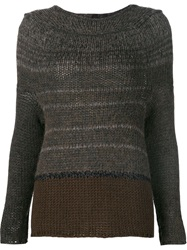 Transit Boat Neck Knit Sweater Grey