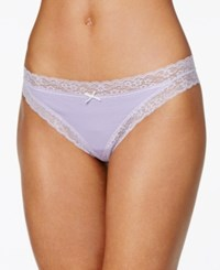 By Jennifer Moore Cheeky Lace Trim Thong Only At Macy's Purple