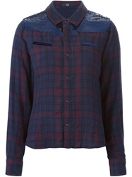 Steffen Schraut Sequin Panel Plaid Shirt Blue