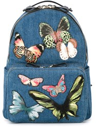 Valentino Garavani Medium Butterfly Embroidered Backpack Blue