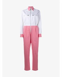 Walk Of Shame Colour Block Cotton Jumpsuit Pink White