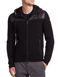 Moncler Maglione Mixed Media Zip Sweater Black