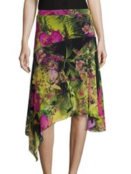 Fuzzi Tropical Floral Print Skirt Verde Multi