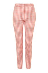 Topshop Gingham Print Cigarette Trousers Coral