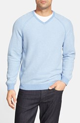 Men's Big And Tall Tommy Bahama 'Make Mine A Double V Neck' Raglan Pullover Blue Yonder