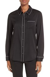 Nordstrom Women's Collection Piped Stretch Silk Blouse