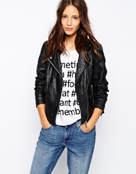 Pull And Bear Pullandbear Leather Biker Jacket Black