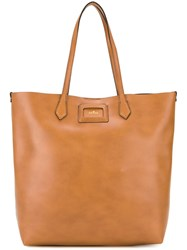 Hogan Logo Plaque Tote Brown