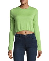 Neiman Marcus Cashmere Long Sleeve Crop Top Green
