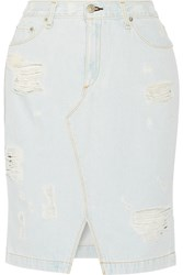 Rag And Bone Distressed Denim Skirt Blue