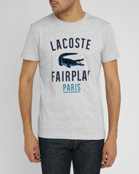 Lacoste Fairplay Grey T Shirt With Crocodile Logo