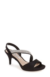 Women's Nina 'Novelle' Crystal Embellished Evening Sandal Black Fabric