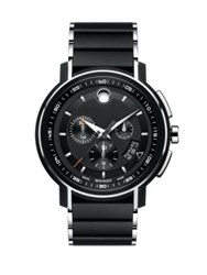 Movado Strato Stainless Steel Bracelet Chronograph Watch Black
