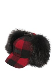 Dsquared Check Wool Felt And Murmansky Fur Hat