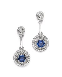 Bloomingdale's Sapphire And Diamond Drop Earrings In 14K White Gold Blue White