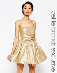 Maya Petite Sequin Prom Dress Gold