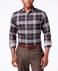 Tasso Elba Men's Plaid Long Sleeve Shirt Classic Fit Black Combo