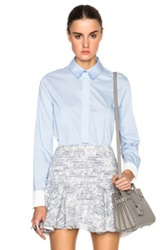 Derek Lam 10 Crosby Oxford Shirting Henley With Back Tail In Blue Stripes