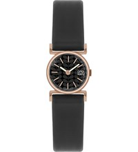 Orla Kiely Ok2044 Cecilia Leather And Stainless Steel Watch Black