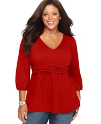 Ny Collection Plus Size Three Quarter Sleeve Ruched Empire Waist Top Chili Pepper