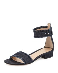 Gianvito Rossi Lola Flat Frayed Denim Sandal Denim