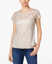 Inc International Concepts Lace Short Sleeve Top Only At Macy's Neutral