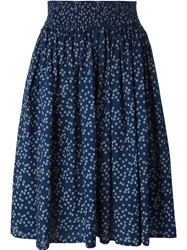 Erika Cavallini Semi Couture Flower Print Flared Skirt Blue