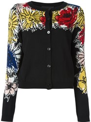 Boutique Moschino Floral Button Down Cardigan Black