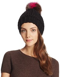 Helene Berman Knit Beanie With Fox Fur Pom Pom Black Pink Multi